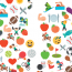 logo de la journée mondial du rein 2017 représentant des reins avec des motifs multicolores de sport et d'aliments