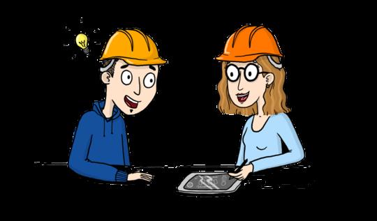 2 personnages stylisés devant une tablette numérique