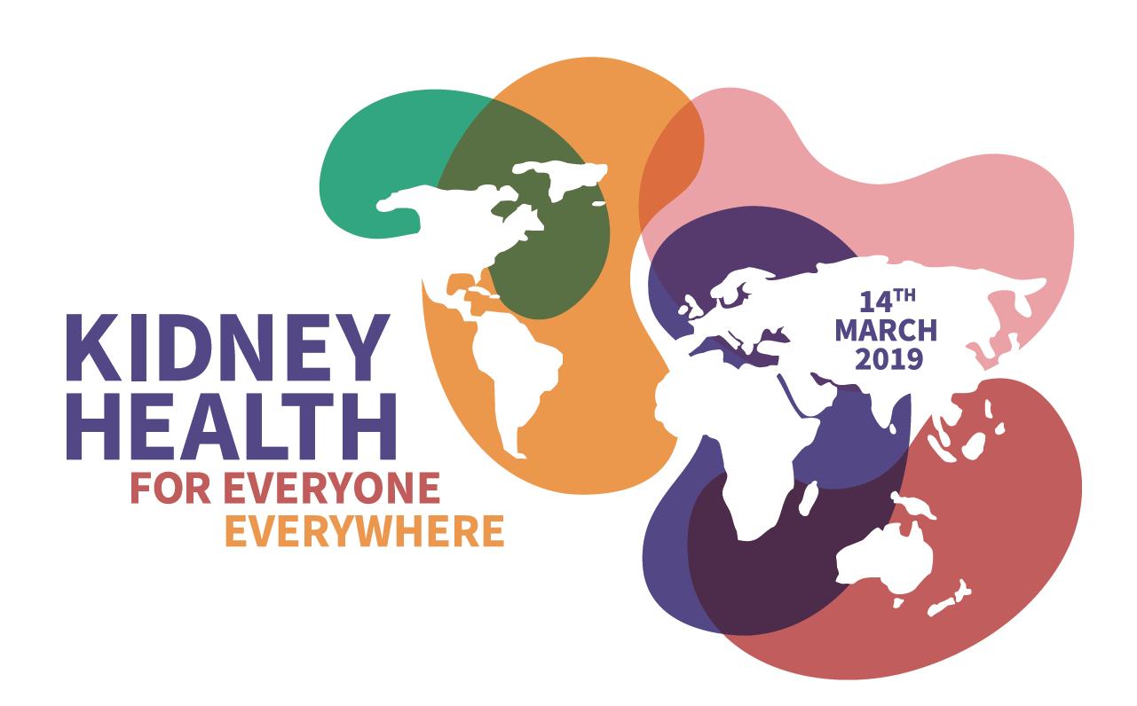 logo du world kidney day 2019 Map monde avec les reins de différentes couleurs stylisés sur chaque continent