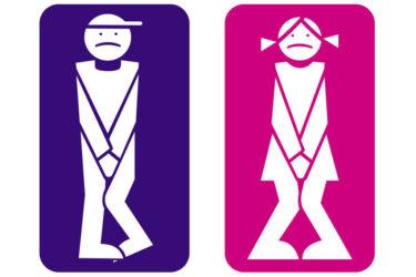 un homme & une femme stylisés avec une urgence mictionnelle